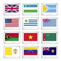 Gallery of countries flags on metal texture plates united kingdom uzbekistan tuva united states uruguay tuvalu vanuatu vietnam Stock Photography