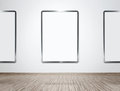 Gallery interior with empty frames Royalty Free Stock Images