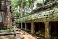 Gallery ruins in Ta Prohm Temple Royalty Free Stock Photography