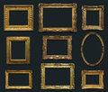 Gallery Wall with Old Frames Royalty Free Stock Photo