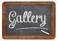 Gallery word on blackboard with white chalk a vintage isolated white Stock Image