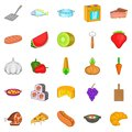 Galley icons set, cartoon style