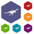 Gallimimus dinosaur icons set hexagon