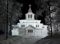 Gallivare church in winter night, Sweden Royalty Free Stock Photo
