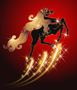 Galloping black horse with golden mane on red background Stock Images