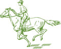 Galloping horse jockey on a clipart Stock Image