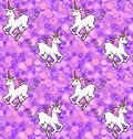 Galloping unicorns wallpaper seamless pattern of in purple fantasy space Royalty Free Stock Images