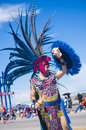 Gallup inter tribal indian ceremonial new mexico august aztec dancer with traditional costume participates at the annual parade on Royalty Free Stock Images