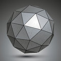 Galvanized facet d sphere grayscale abstract object metal Royalty Free Stock Photos