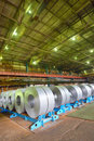 Galvanized steel coil in a warehouse Royalty Free Stock Image