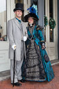 Galveston tx usa smiling couple dressed in victorian style at dickens on the strand festival in galveston tx Royalty Free Stock Photography