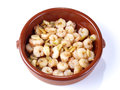 Gambas al ajillo – Fried shrimps with garlic Stock Photos