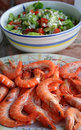 Gambas and salad Stock Photos