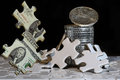 The gamble of hard assets going through the financial puzzle Royalty Free Stock Photo