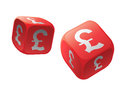 Gamble with money dice international currency Royalty Free Stock Photos