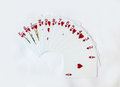 Gamble playing cards heart suit on white background Stock Images