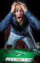Gambler indoors young screaming studio shot Stock Photo