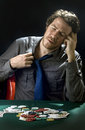 Gambler man playing poker color image Royalty Free Stock Photo