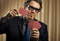 Gambler portrait of man with playing cards Royalty Free Stock Photography