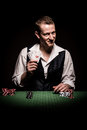 Gambler shows four aces a male smiling leaves and winning hand Stock Photos
