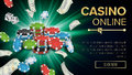 Gambling Casino Banner Vector. Explosion Bright Chips, Playing Dice, Dollar Banknotes. Winner Symbol. Jackpot Billboard Royalty Free Stock Photo