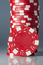 Gambling casino chips color on table Stock Photos