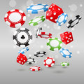 Gambling and casino symbols - poker chips and dice Royalty Free Stock Photo