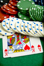 Gambling chips and cards Royalty Free Stock Photography