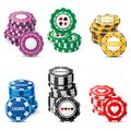 Gambling chips stacks over white background Royalty Free Stock Photo
