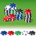 Gambling chips in stacks and of various poker on green background single on white Royalty Free Stock Image