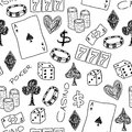 Gambling doodle seamless background texture illustration casino concepts with poker dice and Royalty Free Stock Images