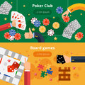 Gambling games flat banners set Royalty Free Stock Photo