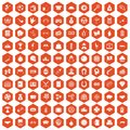 100 gambling icons hexagon orange