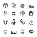 Gambling icons mono vector symbols Royalty Free Stock Photography