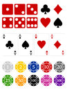 Gambling icons a set of associated with and casinos Royalty Free Stock Photo