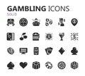 Gambling icons set. Card and casino, poker game. Vector illustration