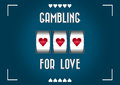 Gambling for love blue background with heart shape slot machine to gamble Royalty Free Stock Photos