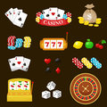 Gambling pictograms set. Deck of cards and casino, playing poker, venturesome game, dice ace vector illustration Royalty Free Stock Photo