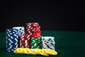 Gambling Red Dice and Money Chips Royalty Free Stock Photo