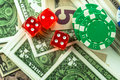 Gambling Red Dice Money and Money Chips Royalty Free Stock Photo