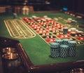 Gambling table in luxury casino Royalty Free Stock Photo
