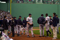 Game alcs yankees bench empties after karim garcia s hard slide into second base after being hit by red sox pitcher pedro martinez Stock Image