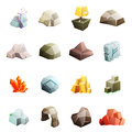 Game art environment low poly rock stone boulder cave cristal rune cartoon isometric 3d flat style icons set vector Royalty Free Stock Photo