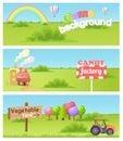 Fairy Cartoon Flat Vector Concept Landscapes Set Royalty Free Stock Photo