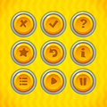 Game buttons with icons set vector gui elements for mobile games Royalty Free Stock Image