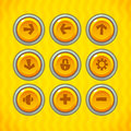 Game buttons with icons set vector gui elements for mobile games Royalty Free Stock Photography