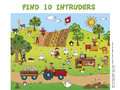 Game for children find ten intruders Stock Images