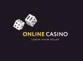 Game club or online casino logo template. Vector illustration. Flat stile design.