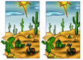 Game color illustration of a where to find the five differences between the two designs Stock Images