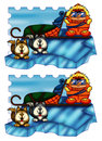 Game color illustration of a where you find the six differences between the two images Royalty Free Stock Photos